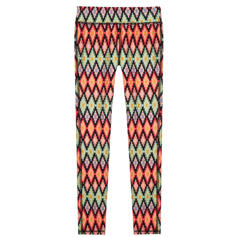 Zig Zag Diamond Legging - Fiery Coral