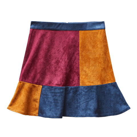 Classic Suede Patch Skirt - Kidpik Navy