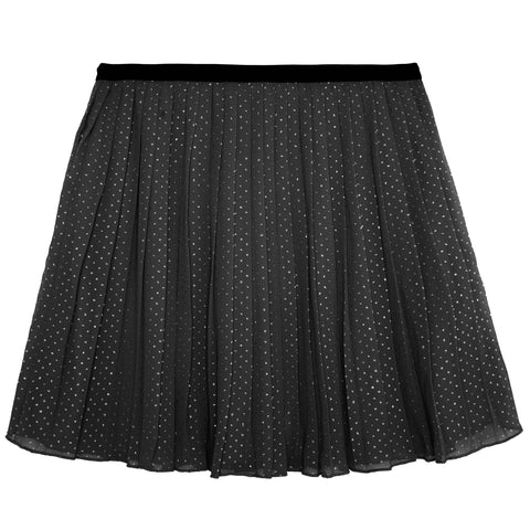 Metallic Dot Pleated Skirt - Black