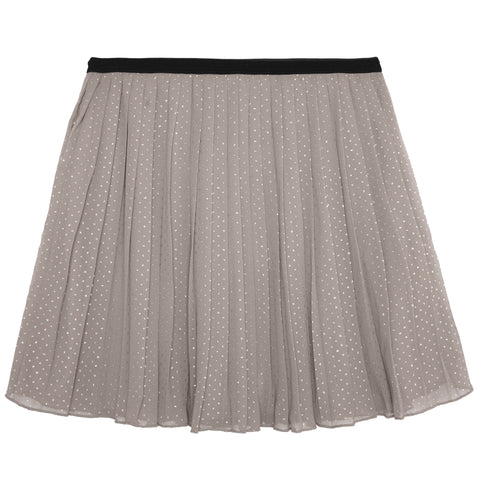 Metallic Dot Pleated Skirt - Micro Chip