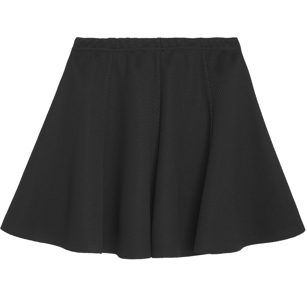 textures knit skater skirt - Black
