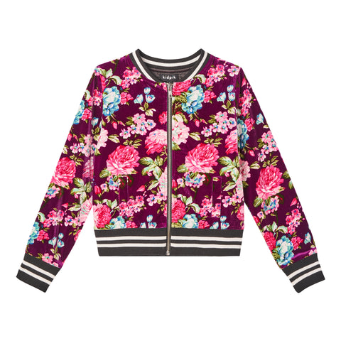 Floral Velour Baseball Jacket - Raspberry Radiance