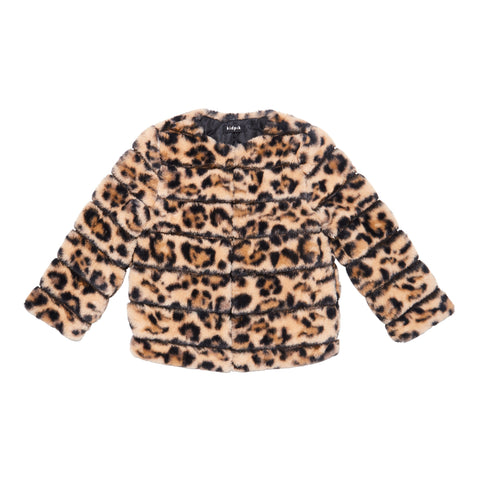 Leopard Fur Jacket - Black