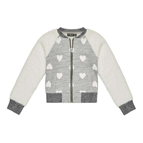 Heart Furry Baseball Jacket - Medium Heather Grey