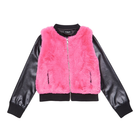 Raspberry Fur Jacket - Raspberry