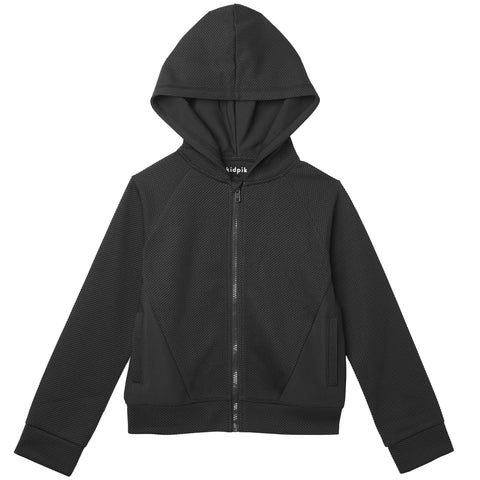 Textured Knit Zip Up - Black