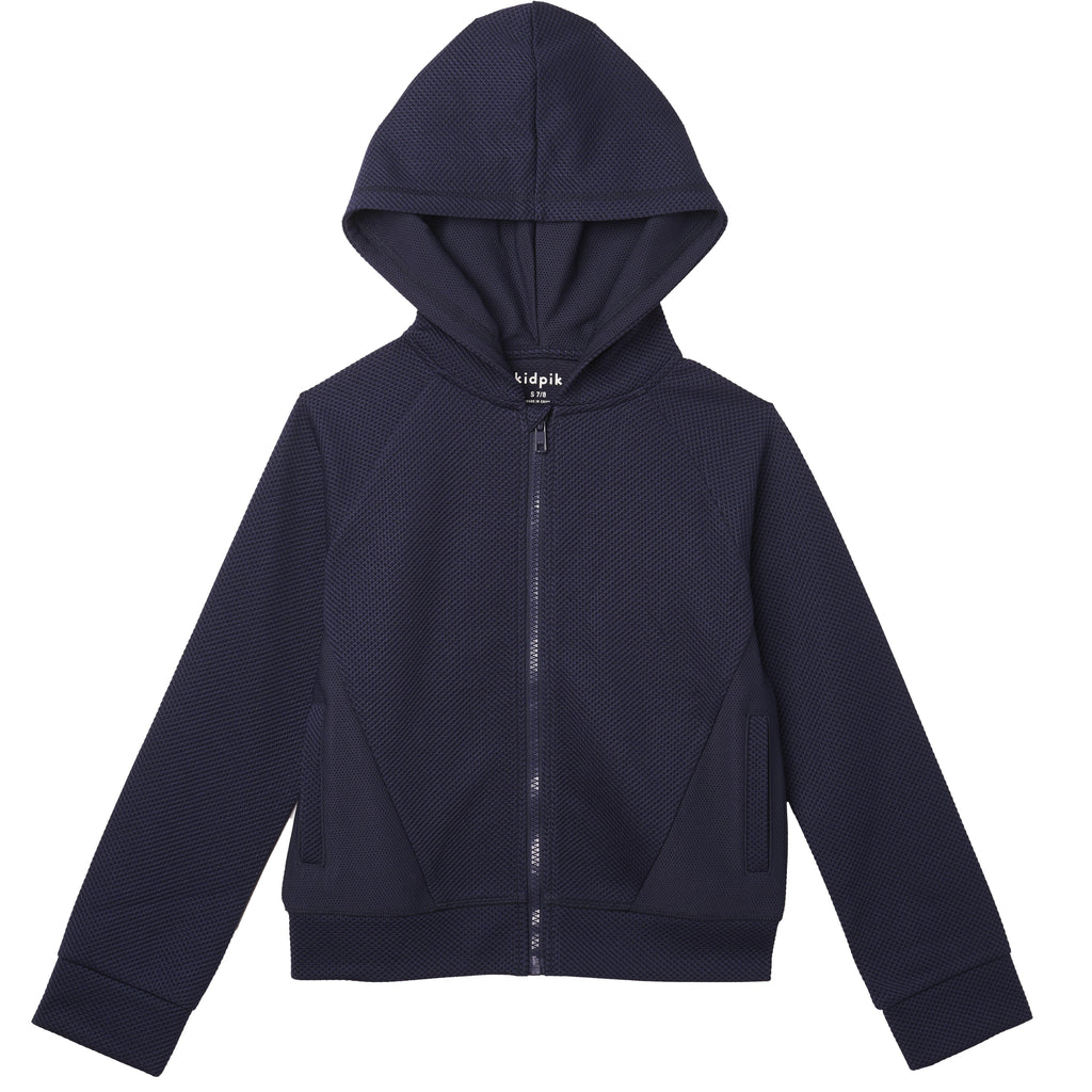 textured knit zip up - Kidpik Navy