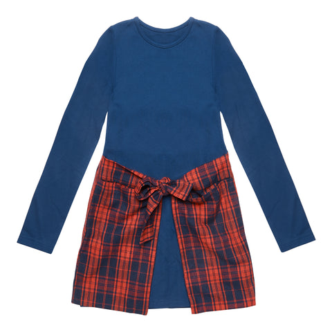 Plaid Waist Wrap Dress - Kidpik Navy