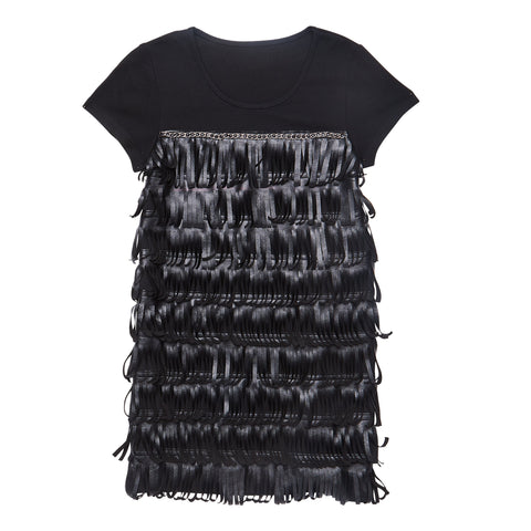 Pleather Fringe Dress - Black