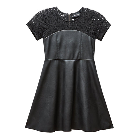 Lace pleather dress - Black