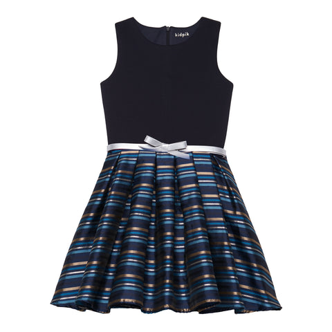 Stripe Metallic Dress - Kidpik Navy