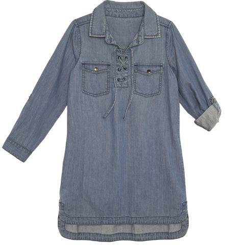 Denim Lace Up Dress - Dream Denim Wash