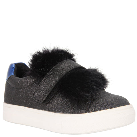 Fur Trim Sneaker - Black