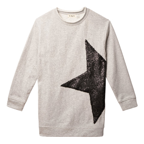 Sequin Star Tunic - Medium Heather Grey