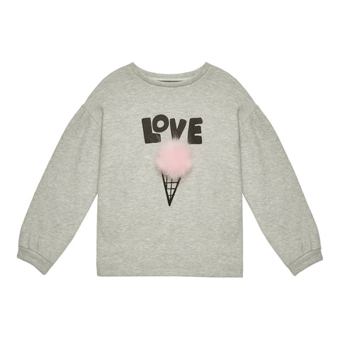 Love Puff Slv Sweatshirt - Light Heather Grey