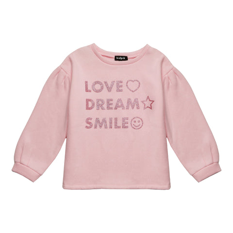 Love Dream Smile Puff Slv Sweatshirt - Parfait Pink