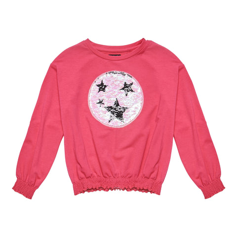 Many Star Smocked Sweatshirt - Pink Peacock