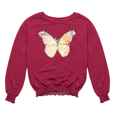 Butterfly Smocked Sweatshirt - Raspberry Radiance