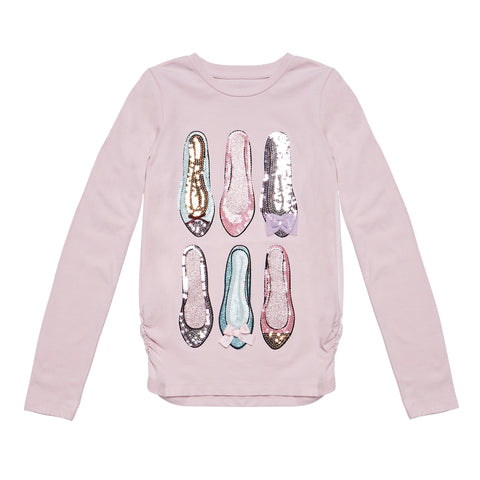 Sequin Shoes Rouched Tee - Parfait Pink