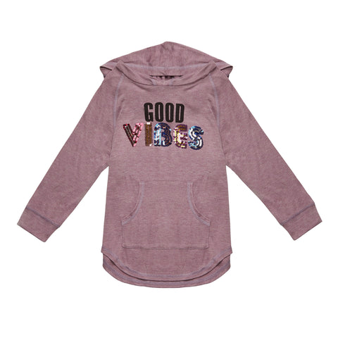 Good Vibes Heather Hoodie - Mulberry