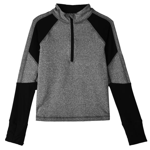 Mock  Zip Active Top - Charcoal Heather