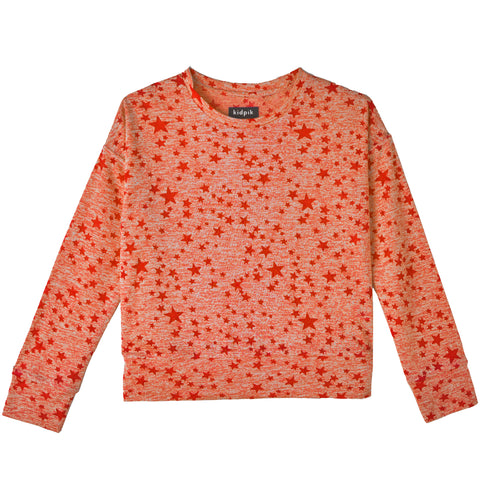 Star Sweat Top - Fiery Coral
