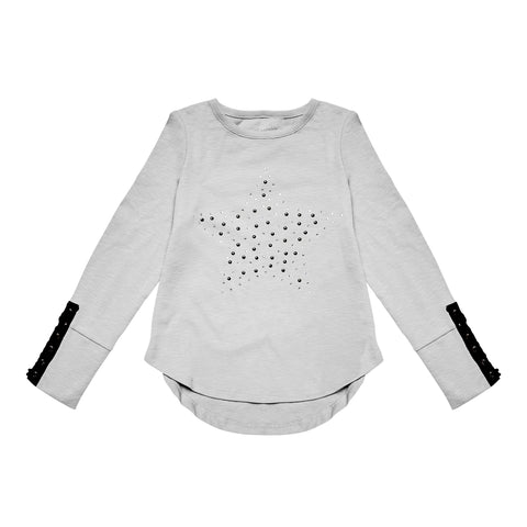 Star Laced Sleeve Tee - Light Heather Grey