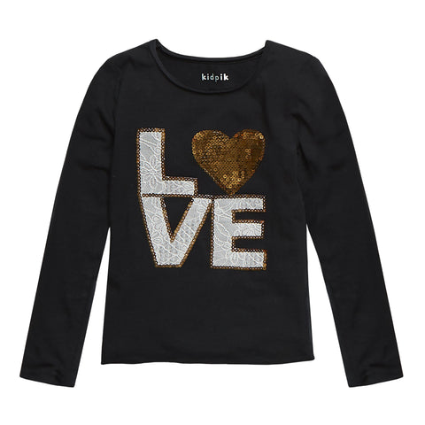 Sequins Heart Love Tee - Black
