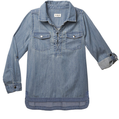 Denim Lace Up Shirt - Dream Denim Wash