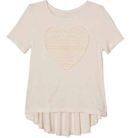 Lace Heart Tee - Kidpik Cream