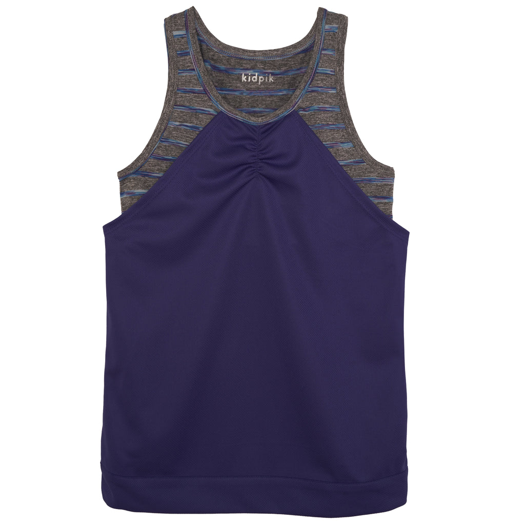 marled stripe mesh tank - Deep Royal