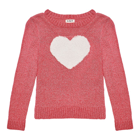 Furry Heart Appliqued Sweater - Pink Peacock