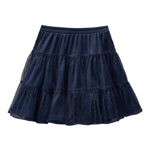 Swiss Dot Tiered Skirt - Kidpik Navy