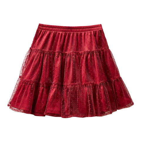 Swiss Dot Tiered Skirt - Rumba Red