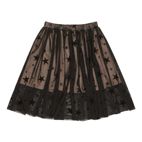 Starry Mesh Skirt - Black