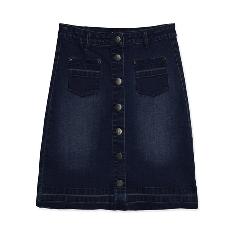 Released Hem Denim Skirt - Portland Wash