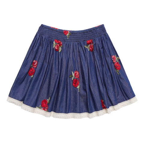 Floral Embroidered Lace Trim Skirt - Kidpik Navy