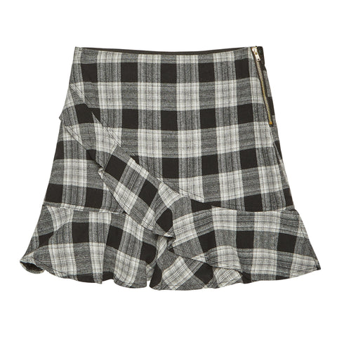 Plaid Ruffle Skirt - Black
