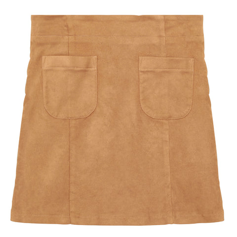 Suede Patch Pocket Skirt - Iced Coffee
