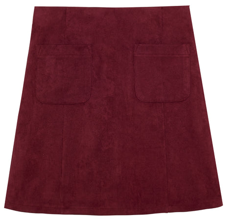 Suede Patch Pocket Skirt - Rumba Red