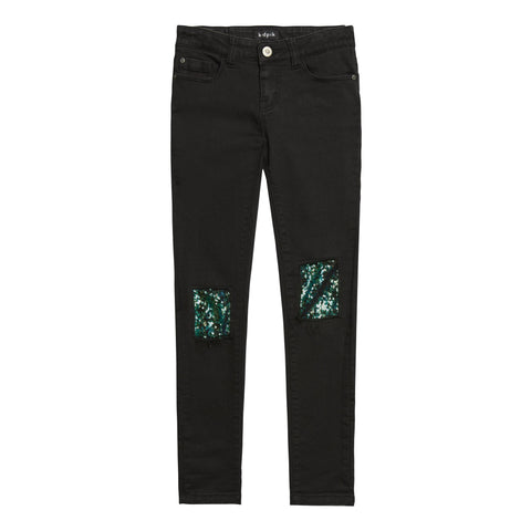 Sequin Knee Black Skinny Jean - Chicago Wash
