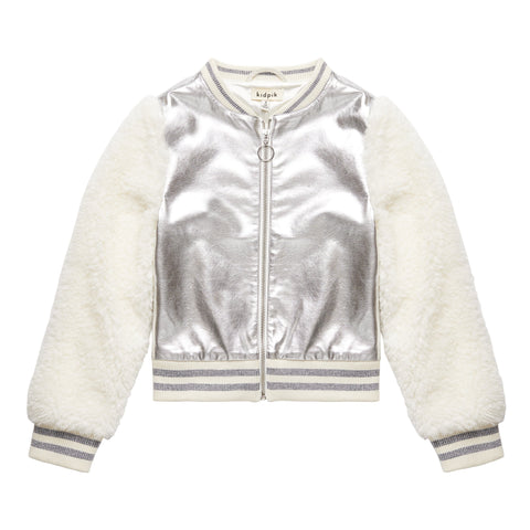 Pleather Fur Varsity Jacket - Gold