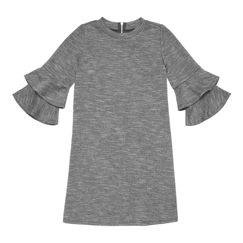 Double Bell Sleeve Dress - Gray Flannel
