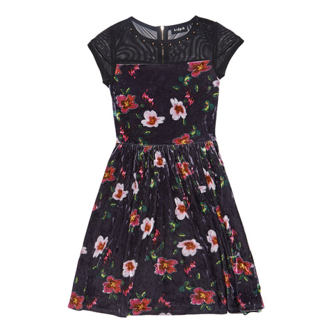 Floral Panne Mesh Yoke Dress - Black