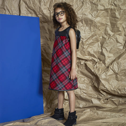 Plaid Pleather Yoke Swing Dress