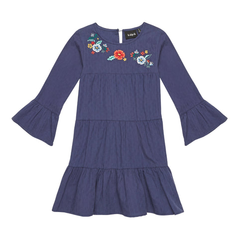 Embroidered Smock Dress - Kidpik Navy