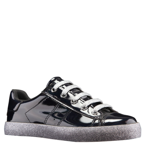 Patent Side Zip Sneaker - Black
