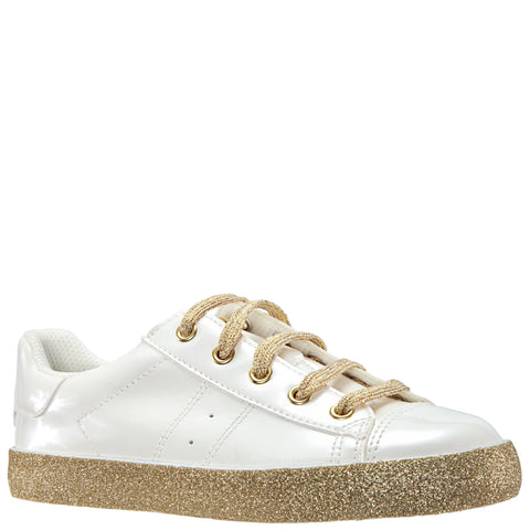 Patent Side Zip Sneaker - White