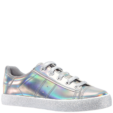 Patent Side Zip Sneaker - Pewter