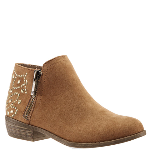 Back Studded Zip Boot - Tan